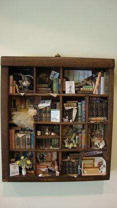 Letterbak - Wandbord - Vitrinekast *Shadow Box - Configuration Box  ~Thema: Bibliotheek - Klassiek Ballet *Library - Classical Ballet~