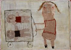 untitled work of mother wheelling babies in carriage by Vered Gersztenkorn (treebystream)