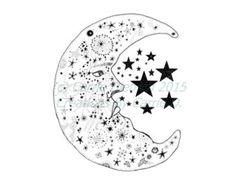 Items similar to Sun and Moon Drawing - Celestial Art, Art, Black ...
