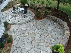Awesome stone patio designs perfect for your home! Paving stone patio, Stone walkway, Patio mosaic ideas, Backyard patio, Patio and Backyard patio designs. Concrete Patios, Flagstone Patio, Backyard Patio, Backyard Landscaping, Patio Stone, Stone Patios, Curved Patio, Stone Walkways, Patio Wall