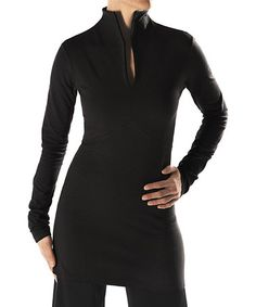 Take a look at this Black Shanghai Tunic by FIG on today! Slit Dress, Bodycon Dress, High Neck Dress, Cool Outfits, Fashion Outfits, Dresses For Work, Formal Dresses, Fall Winter Outfits, Stretchy Material