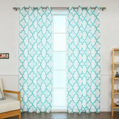 Brianna Moroccan Print Semi-Opaque Grommet Top Curtain Panel Pair