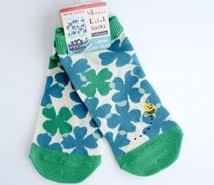 Blue Clover and Bees - Socks - Shinzi Katoh / Ladies Socks / Zakka / Kawaii Socks    https://www.maigocute.com/collections/socks/products/blue-clover-and-bees-socks-shinzi-katoh