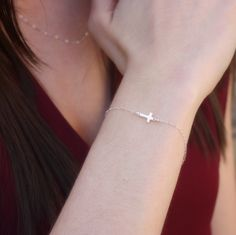 Tiny Silver Sideways Cross Bracelet - Sterling Silver . Chain Bracelet . Tiny . Extra Small . Layering. $22.00, via Etsy.