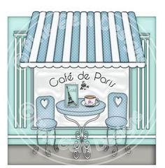 Digi Stamp 'Cafe de Paris'  -  Character Background Stamp. Digital Scrapbooking, Greetings Cards