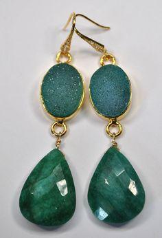 Emerald Earrings - Druzy Earrings