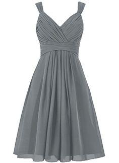 ELLAGOWNS Women's V Neck Chiffon Bridesmaid Dress Short P...