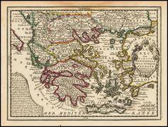 Χάρτης ελλάδας αντίκα ΚΩΔ. GREECE 1719. Σε Poster σε Αυτοκόλλητο σε Καμβά ή Foam Board