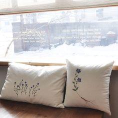 도라지꽃 야생화자수 베게커버 #야생화자수 #embroidery