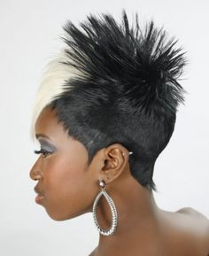 A medium black straight coloured multi-tonal spikey ethnic relaxed hairstyle by Angie Jackson & Company Edgy Haircuts, Summer Haircuts, Short Black Hairstyles, Haircuts For Men, Up Hairstyles, Short Hair Cuts, Short Hair Styles, Natural Hair Styles, Relaxed Hairstyles