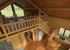 Proiect Doralnic 17 Case din busteni - Cabane din lemn Outdoor Living, Outdoor Decor, Design Case, Home Renovation, My Dream, Diy And Crafts, Solar, Deck, Cottage