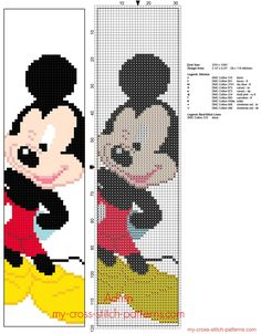 Disney Mickey Mouse children bookmark free cross stitch pattern