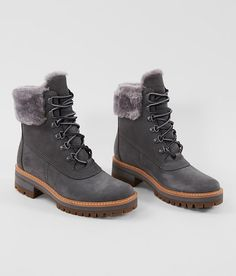 Timberland® Courmayer Valley Leather Boot - Women's Shoes in Medium Grey Nubuck. - Timberland® Courmayer Valley Leather Boot – Women's Shoes in Medium Grey Nubuck Cute Winter Boots, Winter Shoes, Wedge Heel Boots, Heeled Boots, Style Grunge, Sheepskin Boots, Timberlands, Womens Shoes Wedges, Women's Shoes Sandals