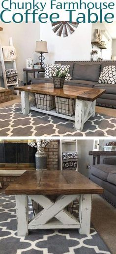 DIY Farmhouse Coffee Table - Woodworking Plans #DiyFurniturePlansFarmhouseStyle