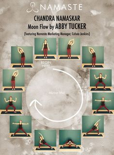 "You're probably very familiar with ""Surya Namaskar"", or ""Sun Salute"", but do you know the moon flow? If not, you'll definitely want to check out the ""Chandra Namaskar"" or ""Moon Flow"" sequence below, a beautiful way to bring a sense of grounding and rest t"