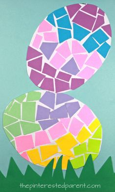 Construction paper Mosaic Easter Eggs - spring and Easter arts and crafts for preschoolers and kids. Easter Arts And Crafts, Easter Egg Crafts, Holiday Crafts For Kids, Kids Crafts, Easter Eggs, Preschool Craft Activities, Learning Activities, Paper Mosaic, Holidays With Kids