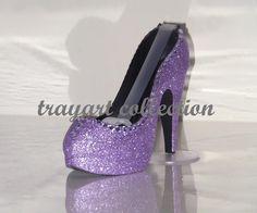 Lavender Purple Gem Bling Sparkle High Heel Shoe Tape Dispenser Stiletto Platform Office Supplies