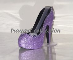 Lavender Purple Gem Bling sparkle High Heel Shoe TAPE DISPENSER Stiletto Platform - office supplies - trayart collection. $27.50, via Etsy.