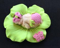Fondant bébé fille anis rose de gâteau pour Baby Shower, anniversaire, cotillons
