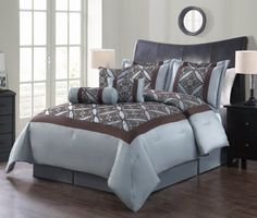 Home Fashions Spa Blue & Chocolate Valentina Seven-Piece Flocking Comforter Set Old Time Pottery, Blue Chocolate, Bed In A Bag, Linen Bedding, Bedding Decor, Bed Linens, Comforter Sets, Bed Sheets, Comforters