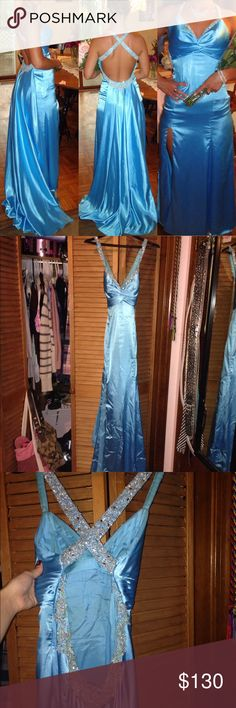 Baby blue embellished gown with train!! When I saw it in the store I had to have it!! It was my prom dress. No stains on the outside of the dress, but some minor discoloration on the inside of the dress (I think it was from the lotion I wore). No rips. It's so gorgeous I hate just letting it sit in my closet. The train can be clipped and tied up (it has ties and clips on the inside of dress). Needs a light iron before wearing. Dresses Prom