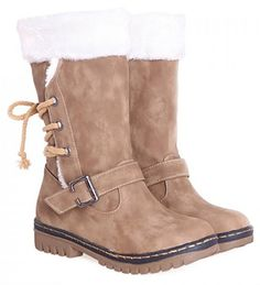 College Style Buckle Strap and Suede Design Women's Snow Boots