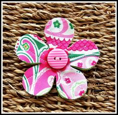 Felt and Fabric Flower Brooch Retro. £4.95