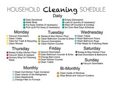weekly household cleaning schedule | House Cleaning Schedule for Household Organization
