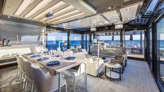 Mahari Joy floor lamp satin chrome   Nahoor   Designer William Pianta   Arcadia Yachts   Dining area and saloon