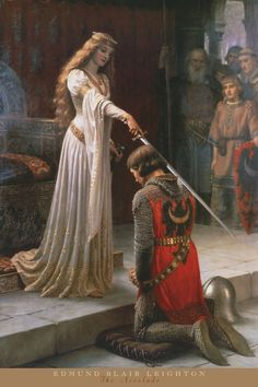 Order of the Bath - Wikipedia - A painting by Edmund Leighton depicting a fictional scene of a knight receiving the accolade Renaissance Kunst, Renaissance Paintings, Aesthetic Painting, Aesthetic Art, Rennaissance Art, Art Ancien, Classic Paintings, Painting Wallpaper, Famous Art