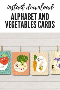 Instant download alphabet and vegetable flash cards. Perfect educational wall art #affiliate #wallart