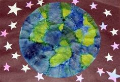 coffee filter & watercolor earth for Earth Day
