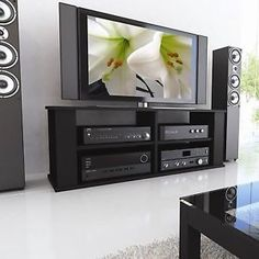 Black-TV-Stand-Flat-Screen-Television-Entertainment-Center-Table-Media-Cabinet