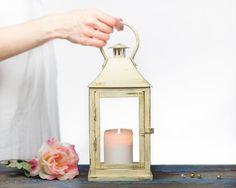 Vintage Wedding Outdoor Lantern - Cottage Shabby Chic Lantern - French Champagne - Wedding Aisle Decor - Christmas Decoration