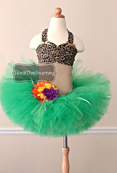 2-piece Luau tutu dress outfit. Perfect for Katy Perry Roar, Hawaii, Animal Print, and Leopard Print themed birthday parties as well as photo