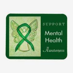 Mental Health Awareness Ribbon Green Angel Custom Rectangle Magnets