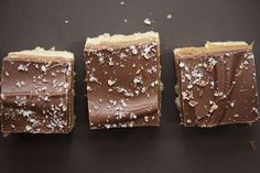 Bars with a shortbread crust, rich caramel filling, and a salted chocolate topping that taste just like Twix!