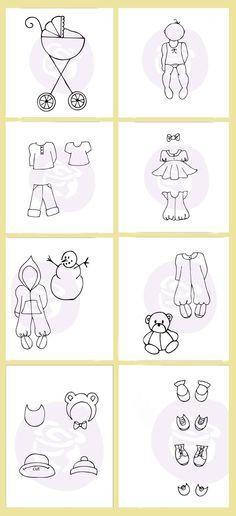 Julie Nutting's new baby stamp line! Stamps shown: Stroller Set-911355,  Baby-911287, Boy Set-911300, Girl Set- 911294, Snowsuit Set -911348, Jammie Set- 911331, Hay/Bib Set- 911324, Shoe Set- 911317