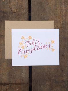 feliz cumpleaños card. spanish birthday card. by elChoffel on Etsy