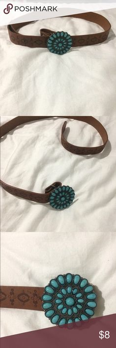 Flower Belt brown belt with a teal flower jcpenney Accessories Belts