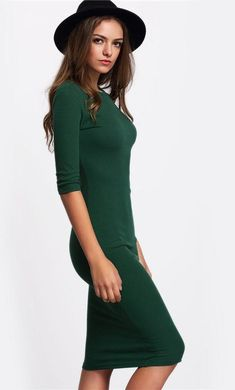 Green Midi Dress Dresses Length: Knee-Length Season: Summer Material: Polyester Sleeve Style: Regular Pattern Type: Solid Silhouette: Sheath Sleeve Length(cm): Half Neckline: O-Neck Half Sleeve Dresses, Midi Dress With Sleeves, Green Midi Dress, Women's Summer Fashion, Summer Dresses For Women, Sexy Dresses, Women's Dresses, Party Dresses, Dresser