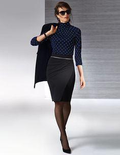 Damen Rollkragenshirt aus Viskose und Seide mit Tupfen | MADELEINE Mode