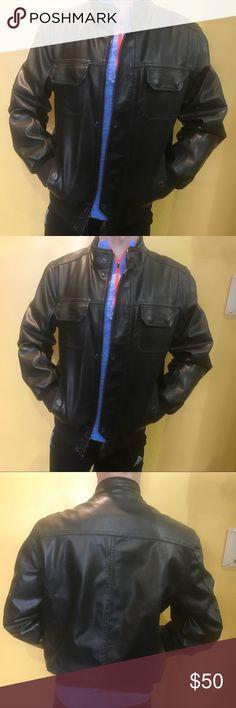 Men's Leather Jacket Buffalo brand men's black leather jacket.   Size medium Buffalo David Bitton Jackets & Coats Bomber & Varsity