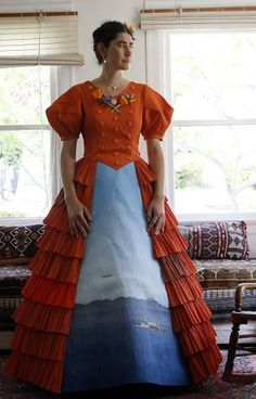 """Artist Anandamayi Arnold works on 7 crepe paper dresses as one of 17 artists in """"International Orange"""" in honer of the 75th anniversary of Golden Gate Bridge in May. We visit the artist in her home in Berkeley, Calif. on April 18, 2012. Photo: Siana Hristova, The Chronicle"""