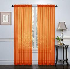 3 Piece Orange Sheer Voile Curtain Panel Set 2 Orange Panels And 1 Scarf By Ahf Http Www Amazon Com Dp B009cm Orange Curtains Curtain Designs Custom Drapes