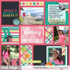 Nothing Is Impossible Pocket Scrapbook Layout by Juli Fish.  Credits - Believe To Achieve by Meghan Mullens & Digital Scrapbook Ingredients  Life Captured August | Templates by Digital Scrapbook Ingredients available at  High school, teen,daughter, Project Life, pink, teal, navy, Goals, multiple photos, grid