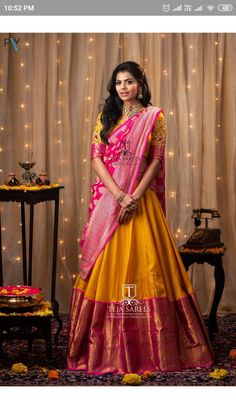 - Source by shreyanshin - Half Saree Lehenga, Lehenga Saree Design, Lehnga Dress, Lehenga Designs, Sari, Raw Silk Lehenga, Yellow Lehenga, Wedding Saree Blouse Designs, Pattu Saree Blouse Designs