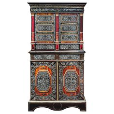 Cabinet with Marquetry, France, 17th Century   From a unique collection of antique and modern cabinets at https://www.1stdibs.com/furniture/storage-case-pieces/cabinets/