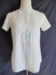 J. JILL PALE BLUE 100% LINEN PEASANT STYLE BLOUSE XS-S IN PERFECT CONDITIONS #JJill #Blouse #Casual