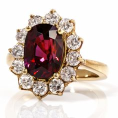 Estate 7.65Ct Ruby Diamond 18K Gold Lady Diana Ring, AGL certified Item #: 4561205